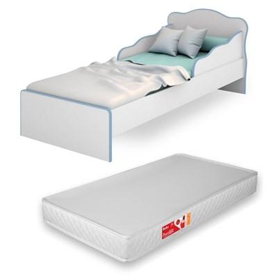 Mini Cama Infantil Doce Sonho com Colchão D20 Branco/Azul - Qmovi