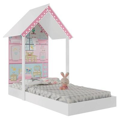 Mini Cama Montessoriana Dollhouse P13 Branco/Rosa - Mpozenato