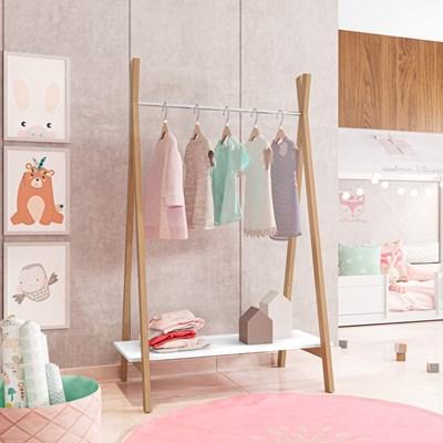 Módulo Closet Arara Expositor 1 Prateleira Style D08 Branco/Amadeirado- Mpozenato