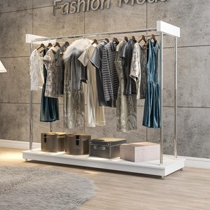 Módulo Closet Arara Expositor com Rodízios Aço Cromado Branco - Mpozenato