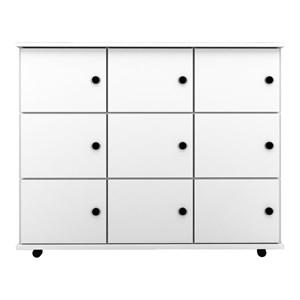 Nicho Multiuso Organizador com Rodízios Amã 9 Portas Branco - Mpozenato