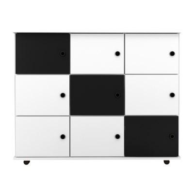 Nicho Multiuso Organizador com Rodízios Amã 9 Portas L03 Branco/Branco/Preto - Mpozenato
