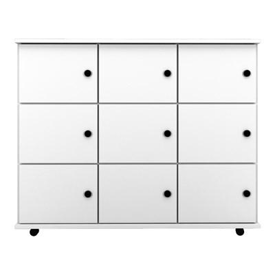 Nicho Multiuso Organizador com Rodízios Amã 9 Portas L03 Branco - Mpozenato