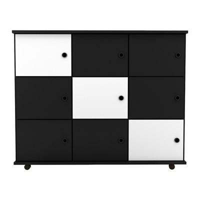 Nicho Multiuso Organizador com Rodízios Amã 9 Portas L03 Preto/Preto/Branco - Mpozenato