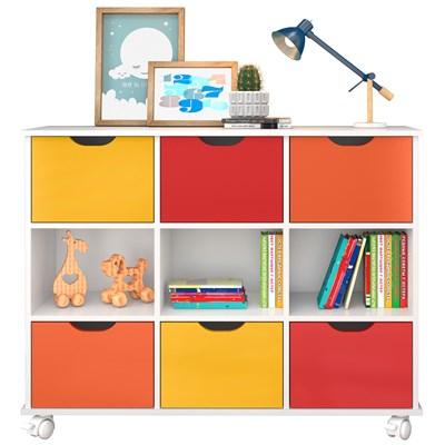 Nicho Organizador com Rodízios Toys 6 Gavetas Branco/Colorido - Mpozenato