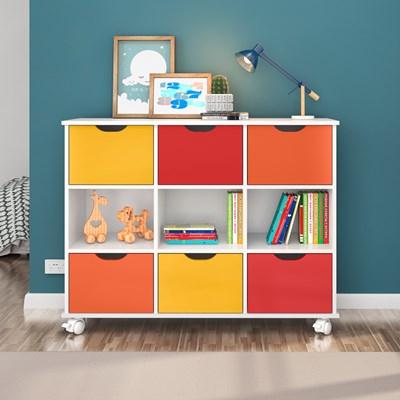 Nicho Organizador com Rodízios Toys 6 Gavetas Q01 Branco/Colorido - Mpozenato