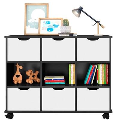 Nicho Organizador com Rodízios Toys 6 Gavetas Q01 Preto/Branco - Mpozenato