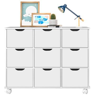Nicho Organizador com Rodízios Toys 9 Gavetas Branco - Mpozenato