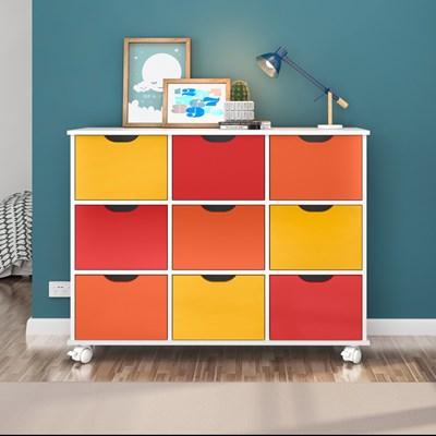 Nicho Organizador com Rodízios Toys 9 Gavetas Q01 Branco/Colorido - Mpozenato