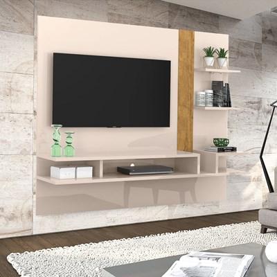Painel Bancada Suspensa Para TV Até 50 Pol. Cross Off White/Amêndoa - Lukaliam Móveis