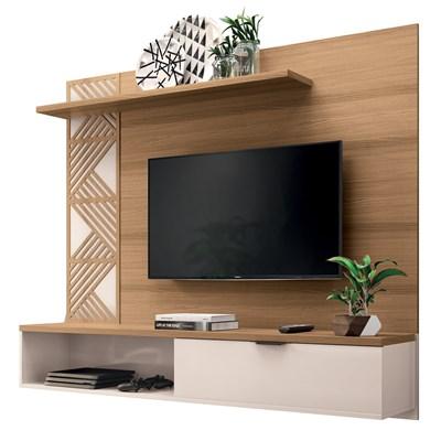 Painel Bancada Suspensa para TV até 50 Pol. Grid Freijó/Off White – HB Móveis