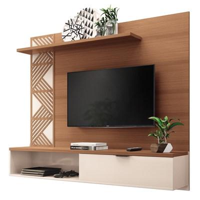 Painel Bancada Suspensa para TV até 50 Pol. Grid Nature/Off White – HB Móveis