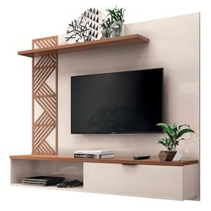 Painel Bancada Suspensa para TV até 50 Pol. Grid Off White/Nature – HB Móveis