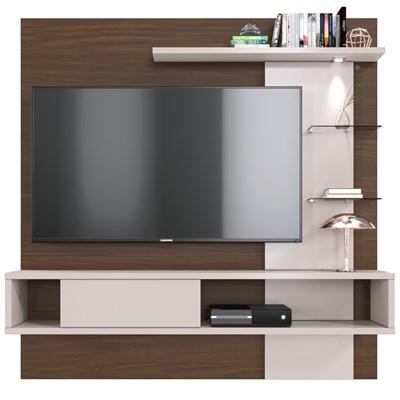 Painel Bancada Suspensa Para TV até 55 Pol. Atlântico Nogueira/Off White - Colibri