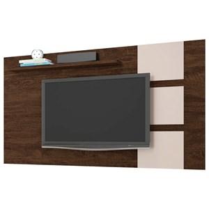 Painel Bancada Suspensa Para TV até 55 Pol. Grécia Noce/Off White - Lukaliam Móveis