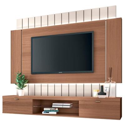 Painel Bancada Suspensa para TV até 55 Pol. Illuna H01 Nature/Off White - Mpozenato