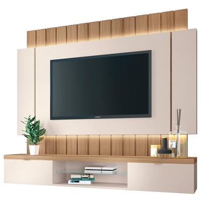 Painel Bancada Suspensa para TV até 55 Pol. Illuna H01 Off White/Freijó - Mpozenato