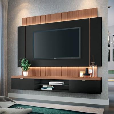 Painel Bancada Suspensa para TV até 55 Pol. Illuna Preto/Nature - Mpozenato