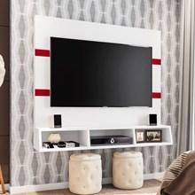 Painel Bancada Suspensa para TV até 55 Pol. Marrocos Branco/Marsala - Poliman
