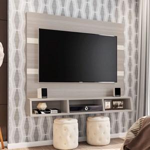 Painel Bancada Suspensa para TV até 55 Pol. Marrocos Rovere/Amêndoa/Arena - Poliman