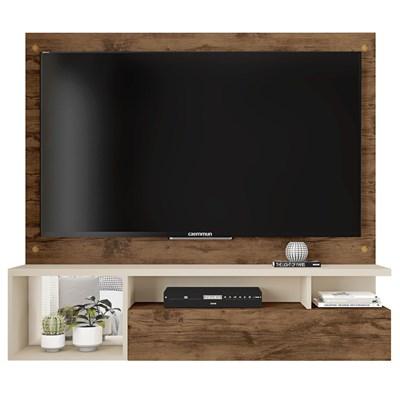 Painel Bancada Suspensa Para TV Até 55 Polegadas 1 Porta Black Jatobá/Off White - Caemmun