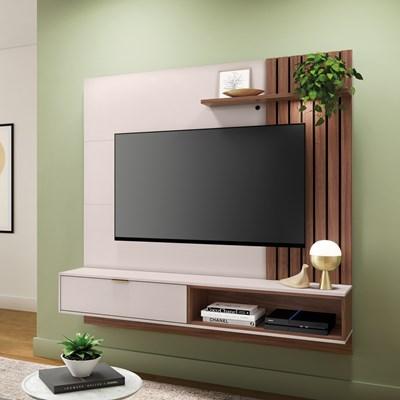Painel Bancada Suspensa Para TV até 60 Pol. 160cm Ripado Palmas C05 Off White/Nogueira - Mpozenato