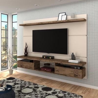 Painel Bancada Suspensa para TV até 60 Pol. 2.2 Lívia H01 Off White/Deck - Mpozenato