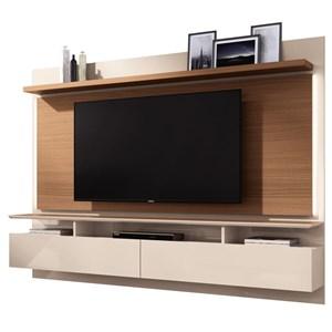 Painel Bancada Suspensa Para TV até 60 Pol. Limit Off White/Nature - HB Móveis