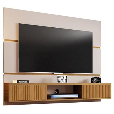 Painel Bancada Suspensa Para TV Até 65 Pol. 2 Portas Âmbar Off White/Cinamomo/Ripado - Bechara