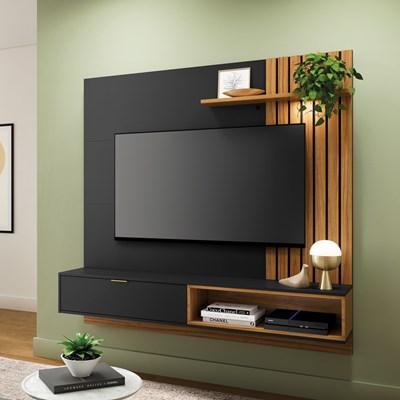 Painel Bancada Suspensa para TV até 65 Pol. Ripado 180cm Tocantins Preto Fosco/Noce Milano - Colibri