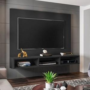 Painel Bancada Suspensa para TV de até 50 Polegadas Quartzo Preto - Móveis Leão