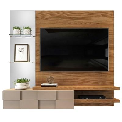Painel Home Suspenso para TV até 55 Pol. com Espelho Lago Carvalho Europeu/Amarula - Dj Móveis