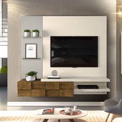 Painel Home Suspenso para TV até 55 Pol. com Espelho Lago Creme/Tronco Ripado - Dj Móveis