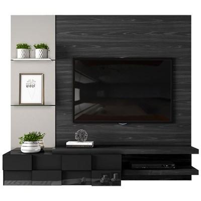 Painel Home Suspenso para TV até 55 Pol. com Espelho Lago Preto Matte/Preto Gloss - Dj Móveis
