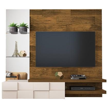 Painel Home Suspenso para TV até 55 Pol. com Espelho Lago Tronco Ripado/Creme - Dj Móveis