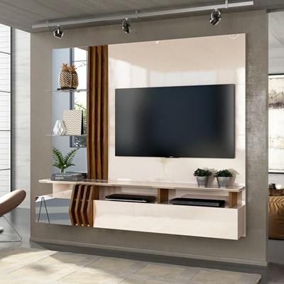 Painel Home Suspenso para TV até 55 Pol. com Espelho Loris Creme/Tronco Ripado - Dj Móveis