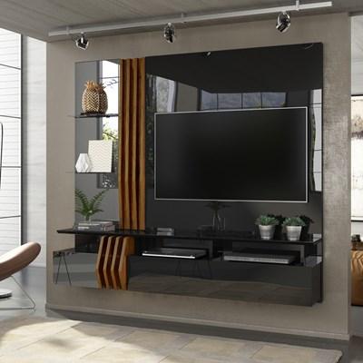 Painel Home Suspenso para TV até 55 Pol. com Espelho Loris Preto Gloss/Tronco Ripado - Dj Móveis