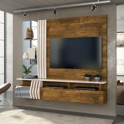 Painel Home Suspenso para TV até 55 Pol. com Espelho Loris Tronco Ripado/Creme - Dj Móveis