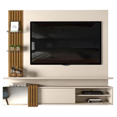 Painel Home Suspenso para TV até 55 Pol. Galina Creme/Tronco Ripado - Dj Móveis