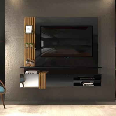 Painel Home Suspenso para TV até 55 Pol. Galina Preto/Tronco Ripado - Dj Móveis