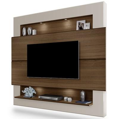 Painel Home Suspenso Para TV Até 60 Pol. Riviera Amêndoa/Off White - Móveis Lupi