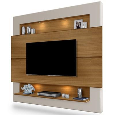 Painel Home Suspenso Para TV Até 60 Pol. Riviera Carvalho/Off White - Móveis Lupi