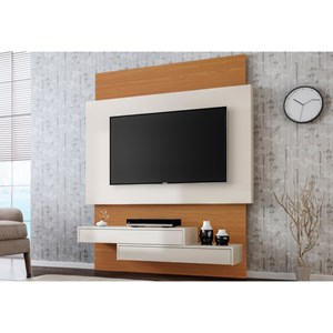 Painel Home Suspenso para TV TB120 Off White/Freijó - Dalla Costa