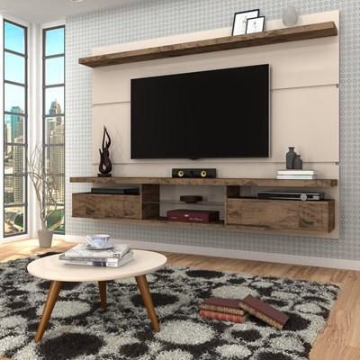 Painel para TV Lívia 2.2 e Mesa de Centro Solaris H01 Off White/Deck - Mpozenato