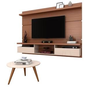 Painel para TV Lívia 2.2 e Mesa de Centro Solaris Nature/Off White - Mpozenato
