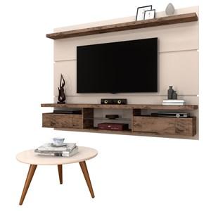 Painel para TV Lívia 2.2 e Mesa de Centro Solaris Off White/Deck - Mpozenato