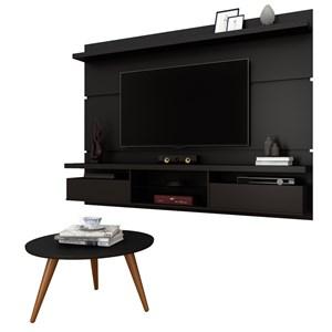 Painel para TV Lívia 2.2 e Mesa de Centro Solaris Preto Fosco - Mpozenato