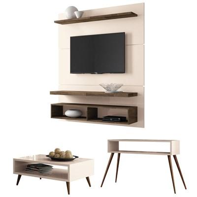 Painel TV Life 1.3 com Mesa de Centro Lucy e Aparador Quad Off White/Deck - HB Móveis
