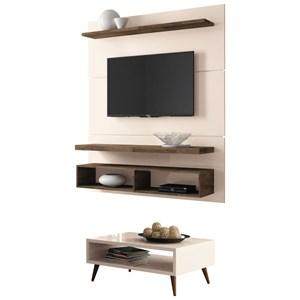 Painel TV Life 1.3 com Mesa de Centro Lucy Off White/Deck - HB Móveis
