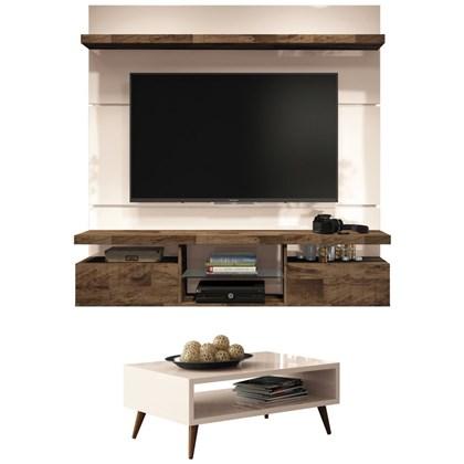 Painel TV Livin 1.6 com Mesa de Centro Lucy Off White/Deck - HB Móveis